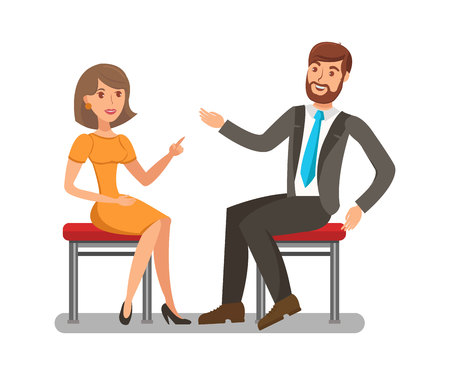 Ilustración de Man, Woman Conversation Flat Vector Illustration. Pretty Lady Having Discussion with Handsome Boy. Elegant Girl Arguing with Opponent Isolated Characters. Friendly Chat, Family Couple Dialogue - Imagen libre de derechos