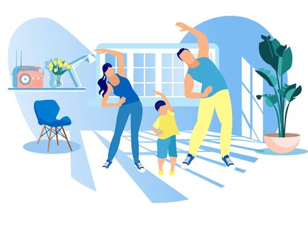 Illustration pour Happy Family Sport Activity. Mother, Father and Kid Doing Morning Exercising at Home. Dad, Mom and Little Son Fitness Workout Exercise, Healthy Lifestyle Indoor Sports Cartoon Flat Vector Illustration - image libre de droit