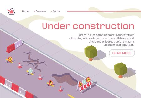 Illustration pour Road Under Construction Repair Horizontal Banner. Broken Pavement Fenced with Warning Signs and Barriers. City Infrastructure, Old Asphalt Repairing, Maintenance, Isometric 3d Vector Illustration - image libre de droit