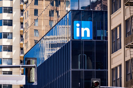 Photo for June 30, 2019 San Francisco / CA / USA - Large LinkedIn offices in downtown San Francisco; LinkedIn is an American business and employment-oriented service and it owned by Microsoft - Royalty Free Image