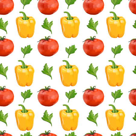 Seamless pattern with tomatoes, yellow pepper and parsley. Vector