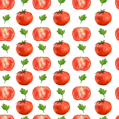 Seamless pattern with tomatoes and parsley. Vector
