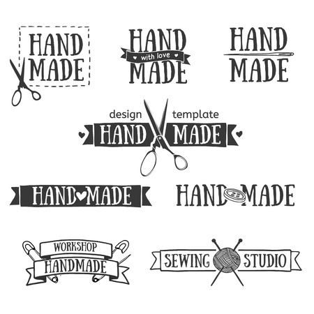 Illustration for Set of vintage retro handmade badges, labels and illustration elements, retro symbols for local sewing shop, knit club, handmade artist or knitwear company. Template illustration. Vector. - Royalty Free Image