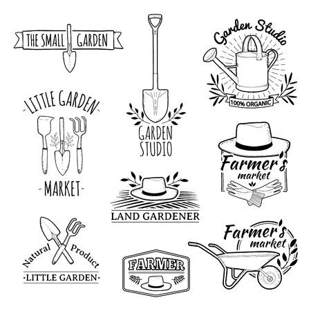 Ilustración de Set of vintage monochrome retro logos, badges, badges, labels. Shop garden, farm, organic garden. Vector. - Imagen libre de derechos