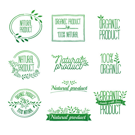 Illustration pour Badges and laurels green branches. Organic and eco natural design template. Hand drawing. Vintage vector, green colors. - image libre de droit