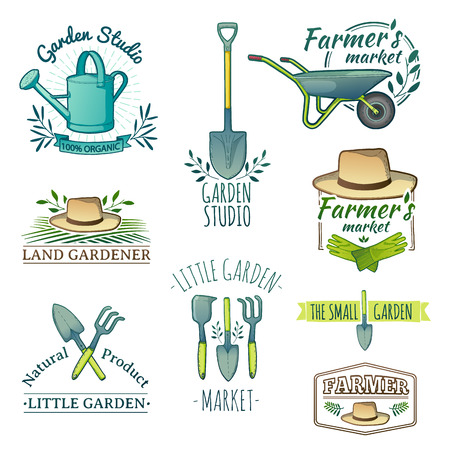 Illustration for Set of vintage color retro labels. Instruments, Shop garden, farm, organic garden. Vector - Royalty Free Image