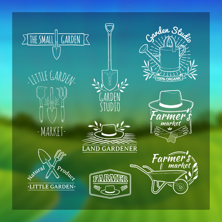 Illustration for Set of vintage retro logos, badges, badges, labels. Shop garden, farm, organic garden. Blurred background with landscape of green meadows, the river and the sunrise. Vector - Royalty Free Image