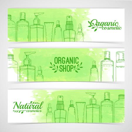 Ilustración de Horizontal design template of brochures, booklets, posters, banners about organic cosmetics, organic shop. Design with bottles, tube of decorative cosmetics. Vector - Imagen libre de derechos