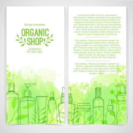 Ilustración de Vertical design template of brochures, booklets, posters, banners about organic cosmetics, organic shop. Design with bottles, tube of decorative cosmetics and leaves, herb. Vector - Imagen libre de derechos