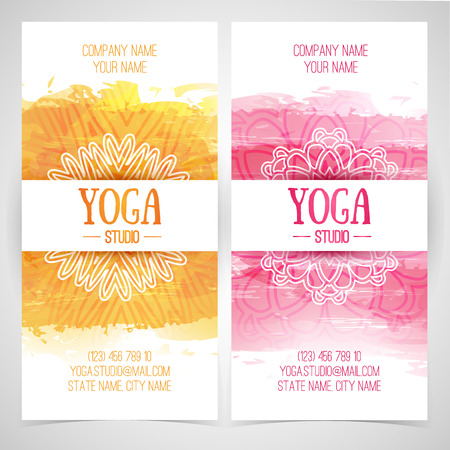 Illustration pour Set design template brochures, cards, invitations, flyers for a yoga studio with watercolor texture and mandala. Vector. Place for your text - image libre de droit