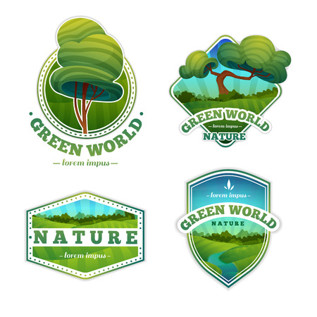 Illustration pour Set of logos, signs, badges with nature and landscape. Cartoon style. Vector. Place for your text - image libre de droit