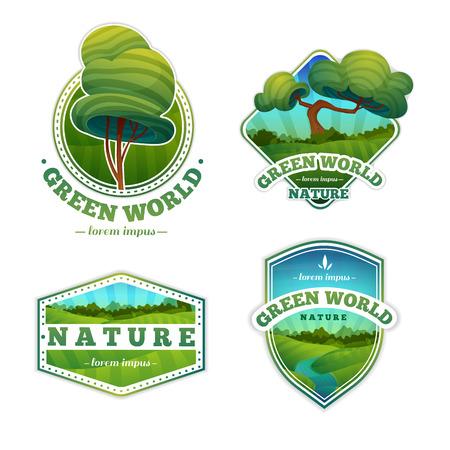 Ilustración de Set of logos, signs, badges with nature and landscape. Cartoon style. Vector. Place for your text - Imagen libre de derechos