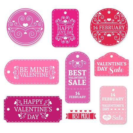 Ilustración de Set of pink Valentine's Day stickers, labels, labels, coupons.Valentine's Day discounts, promotions, offers. Place for your text - Imagen libre de derechos