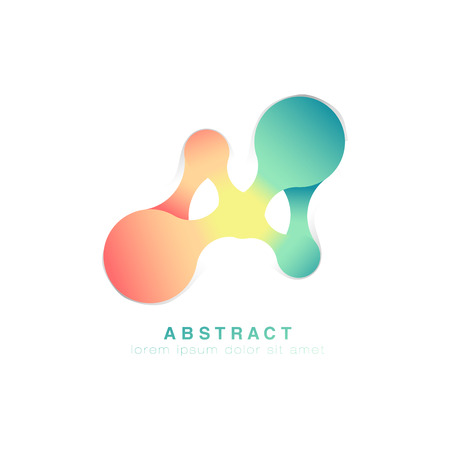 Illustration pour Three points are connected. Abstract logo.Green and pink logo infinite. Vector - image libre de droit