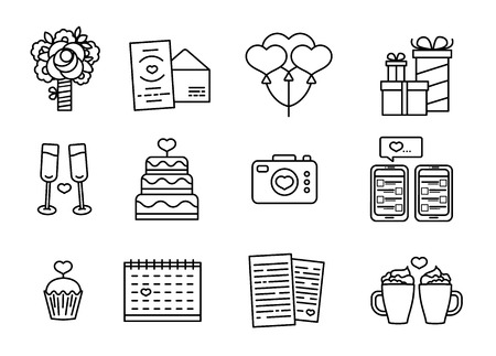 Ilustración de Set line design icon for Valentine's day. Romantic symbol with cake, heart, flower and couple mug. Vector icon with element love. Badge for promotion Valentine holiday. - Imagen libre de derechos