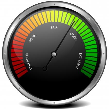 Illustration pour illustration of a metal framed customer satisfaction meter - image libre de droit