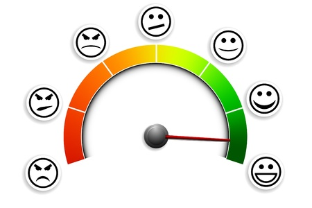 Illustration pour detailed illustration of a customer satisfaction meter with smilies - image libre de droit