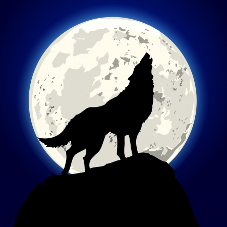 Illustration pour detailed illustration of a howling wolf in front of the moon - image libre de droit