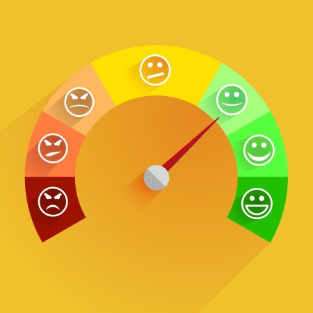 Illustration pour detailed illustration of a customer satisfaction meter with smilies - image libre de droit