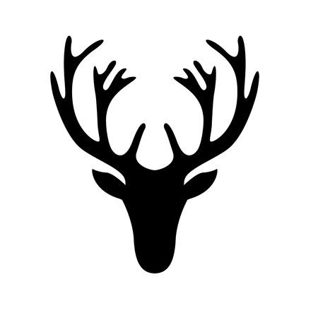 Ilustración de illustration of a deer head silhouette isolated on white - Imagen libre de derechos