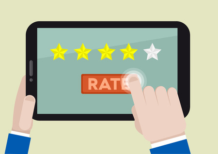 Ilustración de minimalistic illustration of hands holding a tablet computer with rating system and hand pushing the button - Imagen libre de derechos