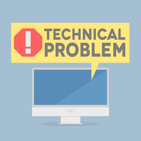 Illustration pour minimalistic illustration of a monitor with a technical problem speech bubble, eps10 vector - image libre de droit