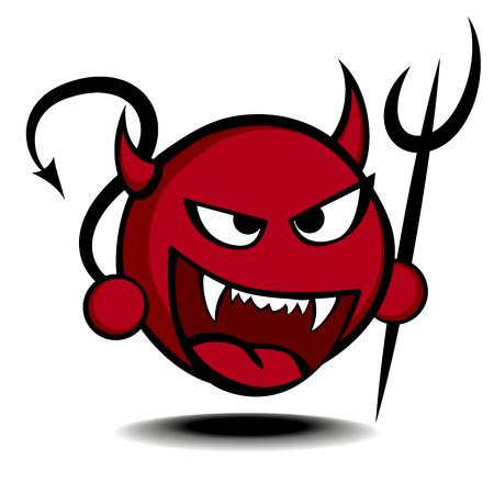 Illustration pour detailed illustration of a stylized red devil with trident - image libre de droit