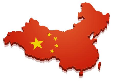 Ilustración de detailed illustration of a map of China with flag,  - Imagen libre de derechos