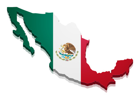 Illustration for detailed illustration of a map of Mexico with flag, eps10 vector - Royalty Free Image