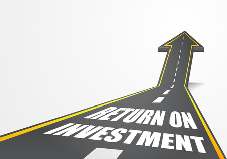 Ilustración de detailed illustration of a highway road going up as an arrow with return on investment text, eps10 vector - Imagen libre de derechos