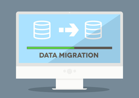 Illustration for minimalistic illustration of a monitor with data migration progress screen, - Royalty Free Image