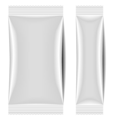 Illustration for detailed illustration of a blank sachet packaging template - Royalty Free Image