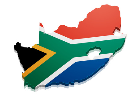 Illustration for detailed illustration of a map of South Africa with flag, eps10 vector - Royalty Free Image