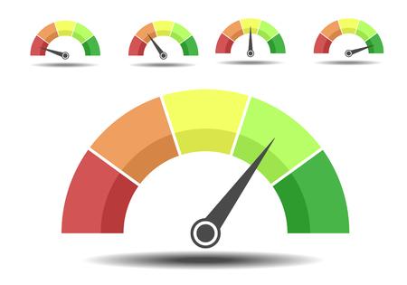 Ilustración de Minimalist illustration of different rating meters, customer satisfaction concept - Imagen libre de derechos