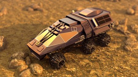 Foto de Mars rover Opportunity rolls into Endurance Crater. Animation. - Imagen libre de derechos
