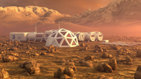 Photo pour Mars planet satellite station orbit base martian colony space landscape. - image libre de droit