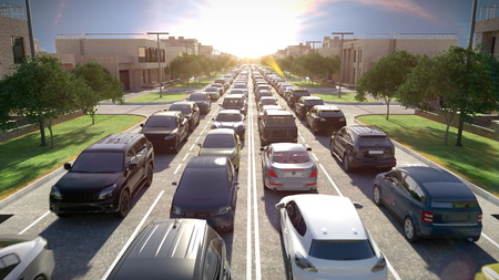 Foto de Traffic jam, sunset time. 3d illustration. - Imagen libre de derechos