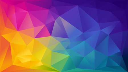 Ilustración de Abstract rainbow background consisting of colored triangles - Imagen libre de derechos