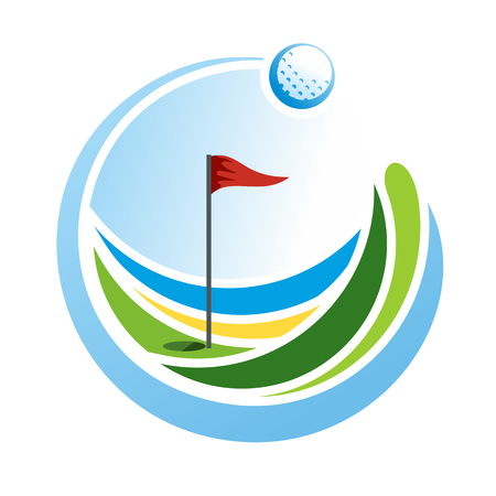 Abstract golf emblem, golf logo, green field