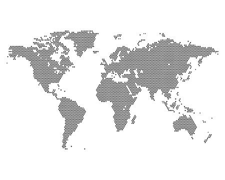 Foto für Monochrome world map consisting dots, vector illustration - Lizenzfreies Bild