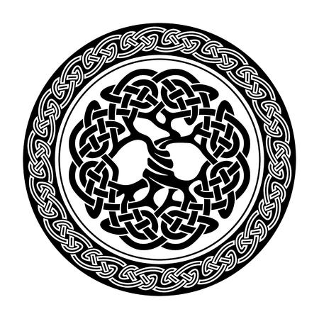 Illustration pour Black and white illustration of celtic tree of life,  vector illustration - image libre de droit