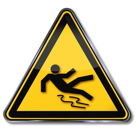 Illustration pour Danger signs slippery - image libre de droit