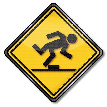 Photo pour Sign caution trip hazard - image libre de droit