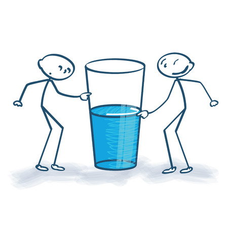 Ilustración de Stick figures with the glass is half full or half empty - Imagen libre de derechos
