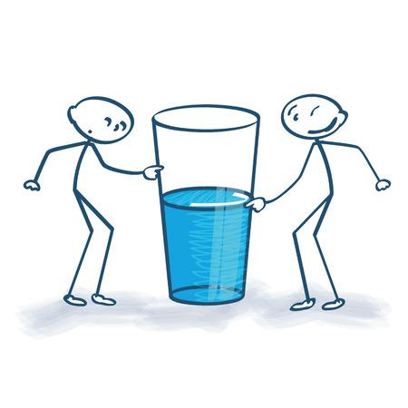 Illustration pour Stick figures with the glass is half full or half empty - image libre de droit