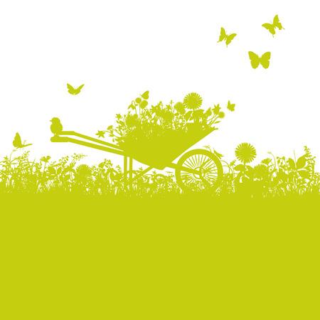 Illustration pour Wheelbarrow in garden - image libre de droit