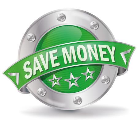 Illustration pour Button with save money - image libre de droit