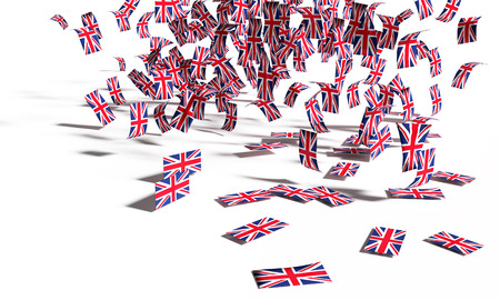 Photo for Many notes and flags from Great Britain falling down to the ground - Royalty Free Image