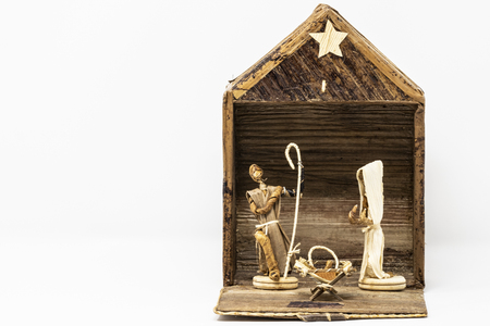 Photo for Alternative Christmas nativity scene worked with wood and other materials, made by artisans of Kenya. - Royalty Free Image