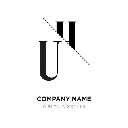 Illustration for Abstract letter UH,HU logo design template, black&white Alphabet initial letters company name concept. Flat thin line segments connected to each other - Royalty Free Image